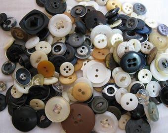 Vintage buttons, assorted buttons, craft supplies, sewing supplies, old buttons, variety of buttons, art supplies, button set