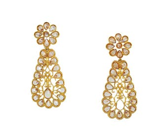 Hand Crafted Fashion Jewellery Champagne Diamond Earrings