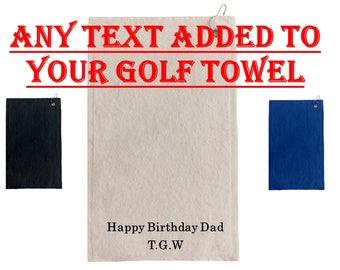 Personalised embroidered golf towel - Dad Grandad Mum Boyfriend Gift - Women's Golf Gift - Birthday Golf gift