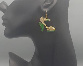 Green Gun Heel Earring