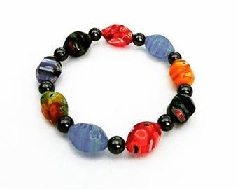 Glass Beaded Hematite Bracelet
