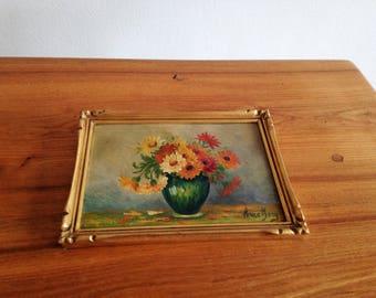 Small oil signed - still life - frame gilt - wood vintage