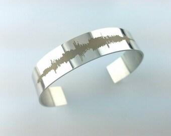 Custom Sound Wave Laser Engraved Bracelet Stainless Steel Bracelet, Gift for Her Anniversary Gift
