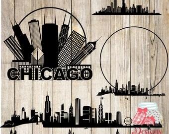 Chicago Bundle -SVG, Silhouette studio and png bundle -  4 design downloads