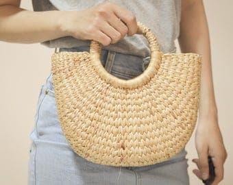 Straw bag Weaving seagrass top handle bag, handmade bag , boho bag, straw purse from Thailand