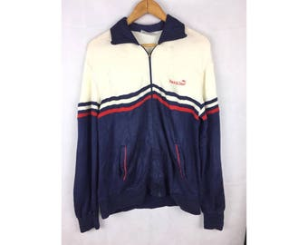 TRACK & COURT Vintage Sportwear Malaysian Long Sleeve Sweater Fully Zipper Medium Size Sweater
