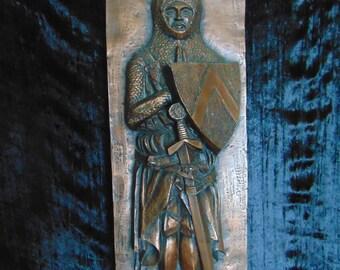 Vintage composite knight plaque