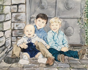 Custom Family Portrait-Family Painting-Watercolor Portrait