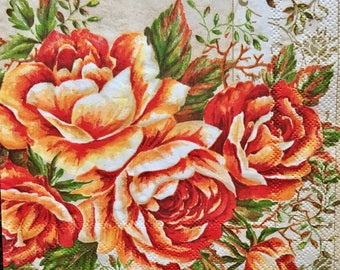 Decoupage Paper Napkins x4 Orange Roses for Decoupage Craft Scrapbooking 040