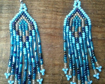 Beaded Mexican Huichol Art Earrings/ Arte Huichol  Mexicanos