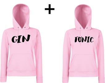 Gin Tonic Couple Hoodies Rosa - couple hoodie, couple sweatshirt, couple sweater, couple shirt, matching hoodie, matching sweatshirt, couple