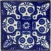 Talavera Mexican Hand Painted Tile Folk Art Sample Tile 4x4 C395 Day of the Dead Blue