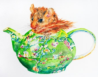 Dormouse Teapot Painting Original Watercolor Lewis Carroll Illustration Hazel Dormouse in Teapot Art Watercolor Painting Alice in Wonderland