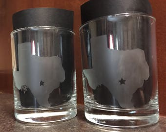 State Outline/City Etched Old Fashioned Glass Pair-Free Shipping