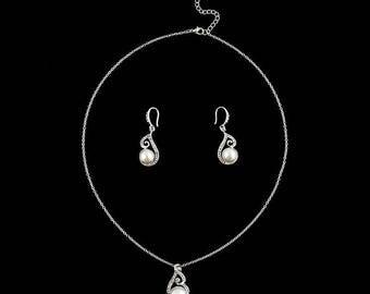 "Jewelry set earrings + pendant Perle Blanche and rhinestone ""Wedding"""