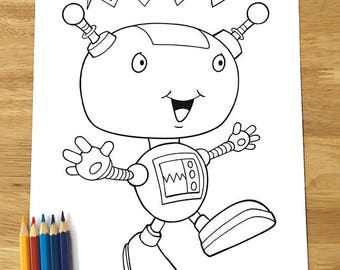 Cute Happy Robot Coloring Page Downloadable PDF File