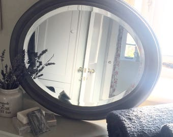 NOW SOLD ** Vintage Oval Bevelled Mirror Hand Painted
