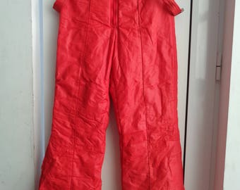 Vintage 80's Red Ski Suit Pants, Winter Hipster Snow Pants, Red Windbreaker Pants, Size 40, Skiing Overalls Pants