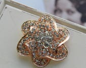 Rose gold Crystal Brooch Wedding Brooch Bridal dress brooch Rhinestone brooch Bouquet brooch Vintage style brooch