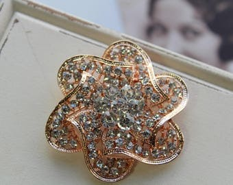 Rose gold Art deco Crystal Brooch, Wedding Brooch, Bridal dress brooch, Rhinestone brooch, Bouquet brooch, Vintage style brooch