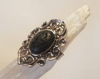 Lava Rock Natural Stone Silver Ring Adjustable Basalt rock statement ring