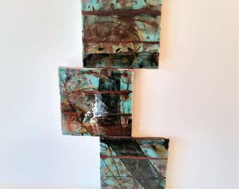 "Under Thin Ice - 18"" x 8"" Original Abstract Ceramic Painting"
