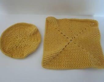 Yellow Crocheted Dishcloths
