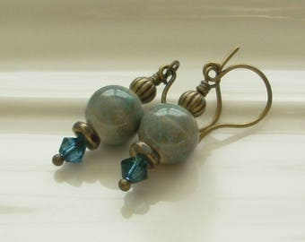 The River - Earrings - Ceramic River Rock, Evening Blue, Antique Brass
