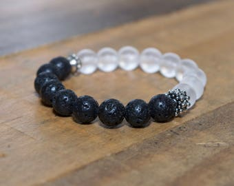 Kids/Tween/Teen Essential Oil Diffuser bracelet with lava beads and frosted Quartz