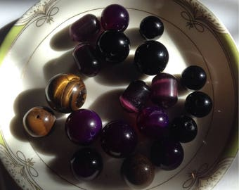 Natural polished gem stones sets