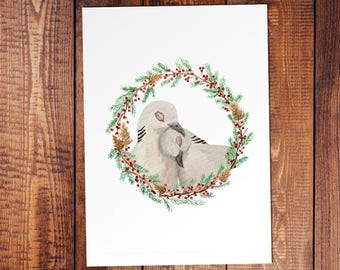 Turtledove Watercolor Christmas Card or Print - Love - Religious