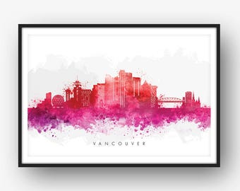 Vancouver Skyline, Vancouver Canada Cityscape, Art Print, Wall Art, Watercolor, Watercolour Art Decor [SWYVR09]