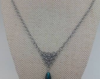 Chevron with Turquoise Glass Bead, Handmade Unique Chainmaille Jewellery
