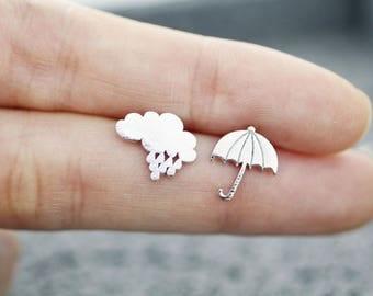 Rainy Day Cloud and Umbrella Earrings, Rain drop and Umbrella Stud Earrings