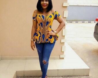 Rita off shoulder African Ankara top