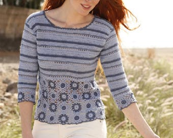 Summer sweater crochet sweater blue sweater crochet top summer top cotton blouse crochet jumper 3/4 sleeves size S to XXXL  Drops Lilith