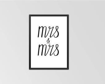 MRS & MRS engagement or wedding Print