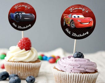 Disney Cars Birthday Cupcake Topper, Disney Cars Cupcake Decoration, Cars Party Decor, Disney Cars Party, Lightning McQueen Party Supplies