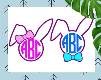 Easter bunny monogram svg Easter svg Bunny svg Easter bunny svg ears svg happy easter svg file for Cricut Silhouette easter cut file dxf eps