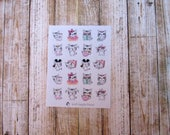 Cat mix sheet stickers, Cat does things, Cat character sticker, cute cat sticker, planner sticker, functional sticker