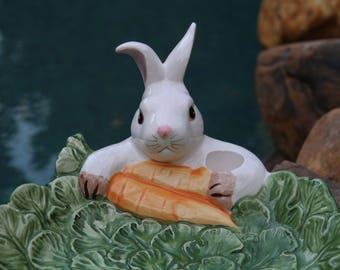 Fitz and Floyd Omnibus - Bunny Rabbit & Carrots Serving Dish - Rabbit Platter - Bunny Lover Gift - Serving Platter - Live in Moment Vintage