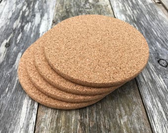 Cork Coasters, (SET of 4)  Round Natural Cork, Blank,