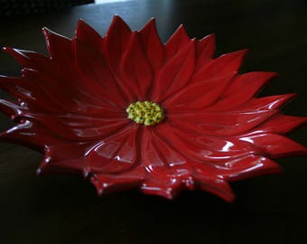 Poinsettia Dish, Red Poinsettia Bowl, Christmas Decor, Red Flower Dish, Christmas Pottery, Holiday Decor, Handpainted Dish, Floral Decor
