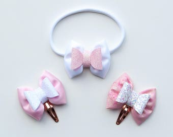 Mini / Baby / Toddler hair bow / Hair clip / Headband, Fairytale inspired hair bow in the style 'Little Lady' - Set of 3