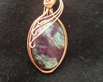 Red and blue labradorite.