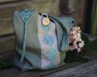 LINEN HANDBAG- Handmade linen shopping bag - Everyday bag - Linen hobo bag - Eco bag