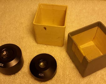 New in Original Box Two Vintage Microscope Eye Pieces 25X and 40X No Brand on Box