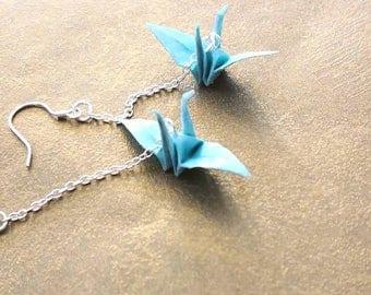 Origami Jewelry - Japanese Origami Crane Earrings - Paper Earrings - 925 Sterling Silver