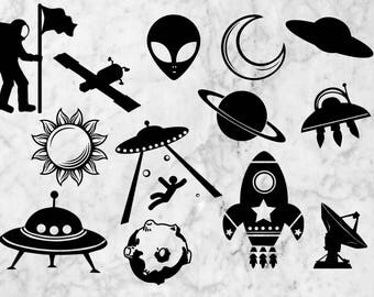 Spacecraft Svg, Planets cut files, clip art, vectors, Alien svg silhouette, stellar vector bundle, Rocket dxf files. Planet svg, UFO svg