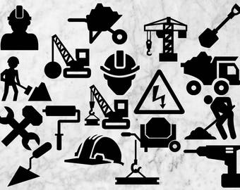 Construction /Engineering svg, cut files, Construction Toorl Clipart, Png & EPS vectors, Construction Scrapbook Signs, industrial cut files